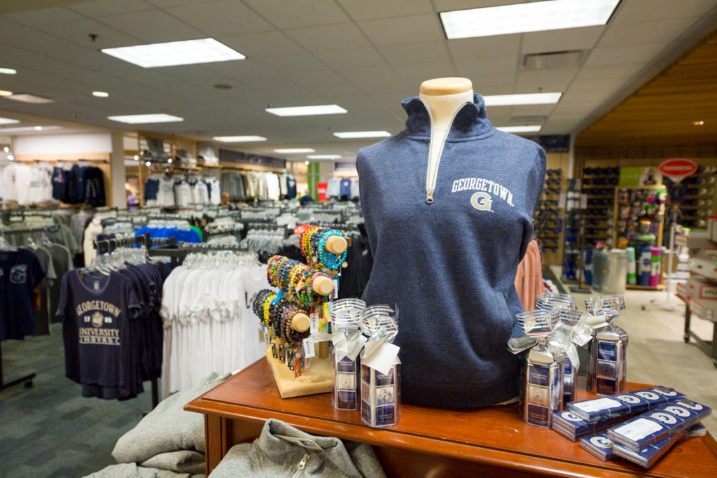 Georgetown apparel displayed in bookstore