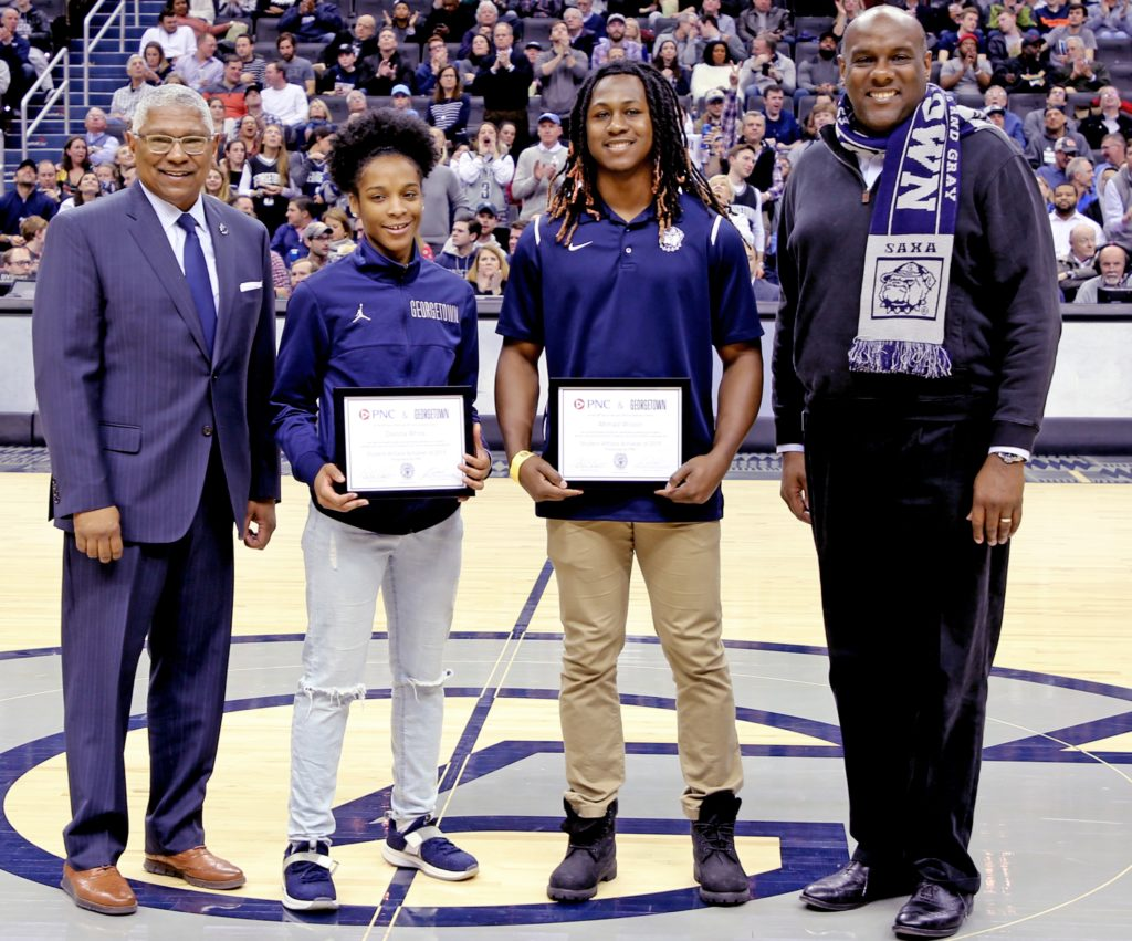 Student award winners recognized during a Georgetown basketball game
